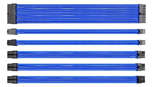 EASYDIY Sleeved Cable - Kabelverlängerung für Stromversorgung mit Combs 24 PIN 8PIN 6PIN 4 + 4 PIN mit COMBS-Blau