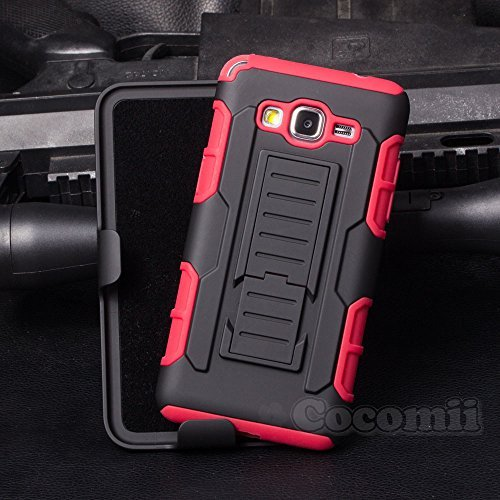 Galaxy Grand Prime Funda, Cocomii Robot Armor NEW [Heavy Duty] Premium Belt Clip Holster Kickstand Shockproof Hard Bumper Shell [Military Defender] Full Body Dual Layer Rugged Cover Case Carcasa Samsung G530 (Red)