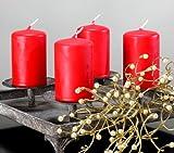 Kerzen Safe Candle Markenkerzen Adventskerzen Stumpenkerzen 80/50 mm rubinrot rot, 12 Stk.