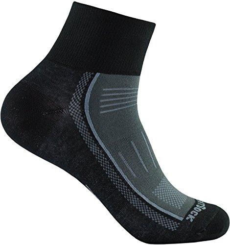 Wrightsock Endurance Profi Sportsocke quarter -anti-blasen-system- in schwarz-ash - Socken Größe L -