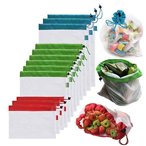 12 Wiederverwendbare Produce Taschen, Gemüsebeutel, Umweltfreundlich Netz Taschen für Einkaufen Aufbewahrung Obst Gemüse Spielzeug mit Kordelzug, leicht