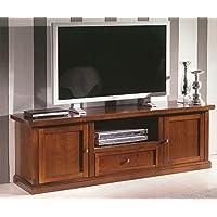 Porta TV in legno massello, noce, arte povera - cm 160X56
