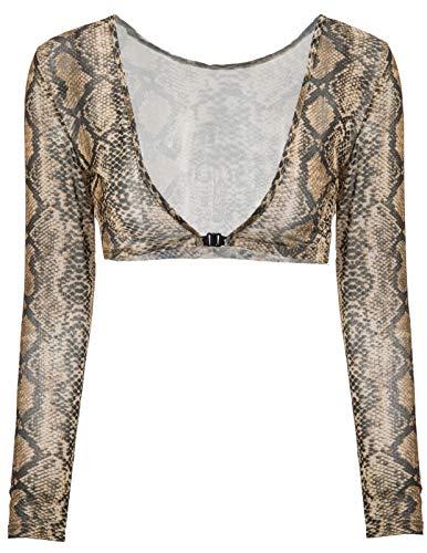 Pattern-damen-top (Mädchen Retro Solide Durchsichtig Sheer Mesh Lange Ärmel Kurzarm Blusen Top Snake Pattern 1279 Small)