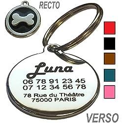 Médaille Chien et Chat Os - Gravure Offerte - 5 Couleurs au Choix - Produit Français (Noir)