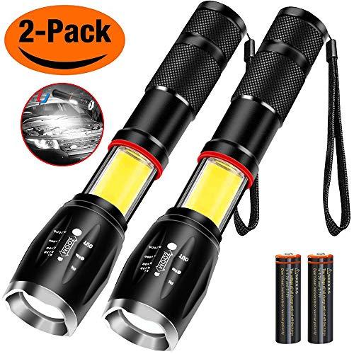 iToncs COB Taschenlampe, Magnetic Zoomable LED Torch [2 Stück, Batterie enthalten, wiederaufladbar], mit 6 Einstellbare Modi Wasserfest Super Leichte für Camping Wandern Radfahren Notfall