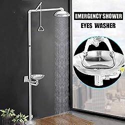 SDCVRE Set de ducha Grifo de ducha de emergencia con limpiador de ojos Lavadora de pie Ducha de lluvia Grifo de ducha vertical Lavado de ojos, China