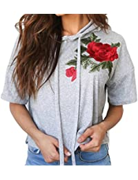 Blusen Damen Kolylong® Frauen Elegant Rose Stickerei Kurzarm Shirt mit  kapuze Hooded Bluse Kurz Casual 35f99174ba