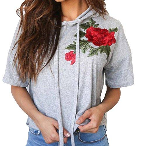 Blusen Damen Kolylong® Frauen Elegant Rose Stickerei Kurzarm Shirt mit kapuze Hooded Bluse Kurz Casual T-shirt Freizeit Sport Tops Oberteile Bauchfrei Sommer Shirt Hemden Tunika Sweatshirt (Grau, L) (Coat Sport Kurz 42)