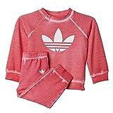 adidas Kinder Trainingsanzug I Tery Crew Set, Rosa/Weiß, 98, 4056559594763