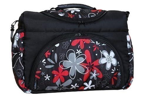 TP-23 Wickeltasche PIA von Baby-Joy XXXL Übergröße Schwarz ROT Blumen III Windeltasche Pflegetasche Babytasche Tragetasche