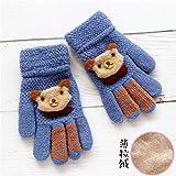 Babyhandschuhe Herbst und Winter warm fünf Finger niedlichen dünnen Abschnitt gebürstet Jungen und Mädchen Baby Kinder Kinder Handschuhe Winter, 11,5 * 7,5 cm / 0-3 Jahre alt, gebürstet-blau