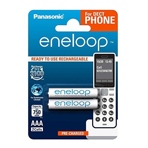 Panasonic eneloop, Ready-to-Use Ni-MH Akku, AAA Micro, 2er Pack, min. 750 mAh, 2100 Ladezyklen, geringe Selbstentladung, für Schnurlostelefone (DECT) (Nimh-aaa Panasonic)