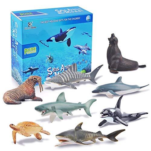 GizmoVine Unterwasser Tiere Spielzeug Meerestier-Set Realistisch Modell Geburtstag Geschenke für Kinder Junge Zum Lernen (Ozean Tiere Spielzeug)