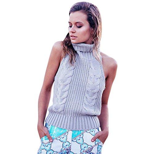Sommer Bluse Internet Damen Lässige Stehkragen ärmellose Pullover Weste Bluse (grau) (Steine Ärmellos)