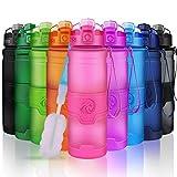 ZORRI Sport Wasserflasche Trinkflasche Bpa Frei Tritan Schule Sportflasche (500ml-17oz, Rosa)