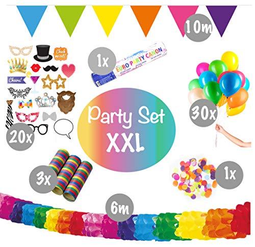 L+H Geburtstagsdeko Party Set XXL | über 55 Teile | inkl. Fotorequisiten Girlanden Tischkonfetti Partykanone Luftschlangen und Luftballons | Dekoration Fasching Karneval Deko | Kinder Mädchen Jungen