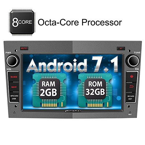 PUMPKIN Android 7.1 Octa Core Autoradio Multimedia Player 32GB + 2GB für Opel Astra Corsa Zafira Vivaro Meriva Vectra mit GPS Navi unterstützt Bluetooth WLAN DAB+ Subwoofer USB MicroSD 7 Zoll