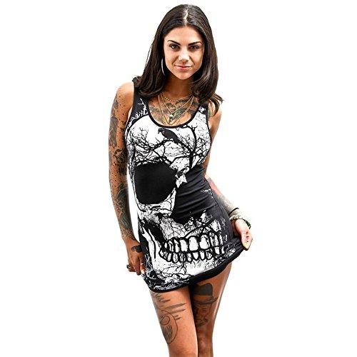 HuaCat Sommerfrauenweste T-Shirt Schwarzes Bodenshirt V-Ausschnitt T-Shirt Mit Totenkopf-Print Und Dekorativem Metallunterhemd Aus Metall Top (M, A-0620) -