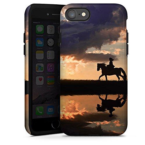 Apple iPhone 5s Tasche Hülle Flip Case Pferd Sonnenuntergang Reiten Tough Case glänzend