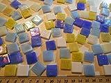 Happy-Mosaic Mosaiksteine 500g Blau Gelb Mix im Format 15x15 mm lose Glasmosaiksteine zum Basteln