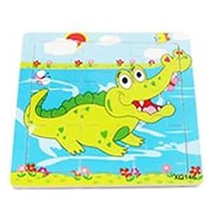 Jouet Cartoon Animal Imprimé 9 Pcs Jigsaw Puzzle de Bois pour des Enfants(Crocodile)