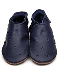 32fd731d2d35 Inch Blue Girls Boys Luxury Leather Soft Sole Pram Shoes - Milky Way Navy