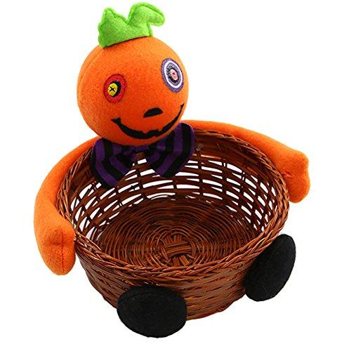 Zantec Kinder Süßigkeit Tasche Rattan Korb Eimer Kürbis Wolf Plüsch Puppe Trimmen Halloween Urlaub Party Dekor
