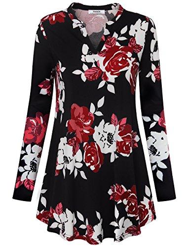 Frauen Tops und Tuniken, Youtalia Damen Herbst Plus Size Freizeit Langarm V-Ausschnitt Bluse Mit Blumendruck Federleicht Swing Tunika Kleider (Multicolor Rot,Größe XL) (Damen Rotes Kleid Hose)
