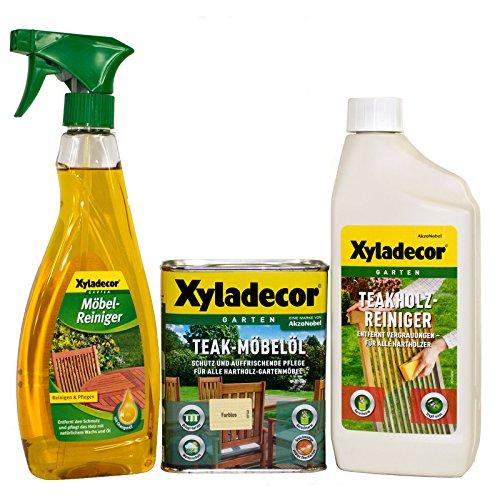 AkzoNobel Xyladecor Teak-Möbelöl farblos 0,75L + Möbelreiniger + Teakholzreiniger SET