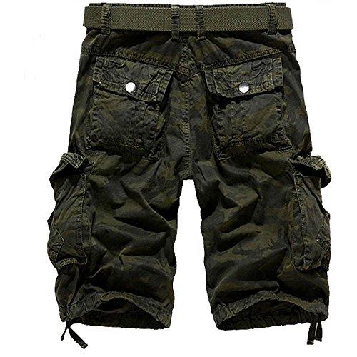 Cotton Zip-off-hose (Shorts Herren Reißverschlusstaschen Pure Farbe Draußen Strand Beiläufig Arbeit Cargo Hose)