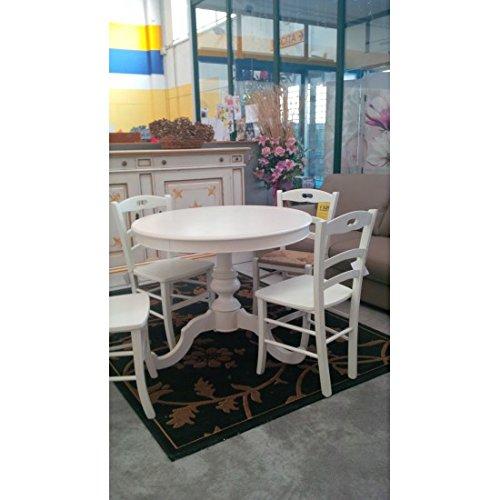 Mesa de madera redonda de color blanco mate extensible, varios ...