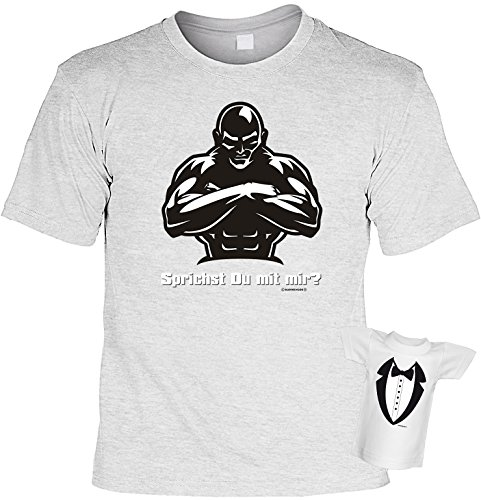 Witziges Fun-shirt - Tshirt als Geschenk mit Minishirt - Farbe: Grau - Sprichst Du mit mir Grau
