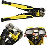 Wire Stripper Plier,Drillpro,Self-Adjusting Automatic Wire Stripper Professional Multifunctional Wire and Cable Crimping Stripping Cutting Pliers Terminal Tool Wire Crimper Stripper Cutter AWG24-10(0.2~6.0mm²) Yellow