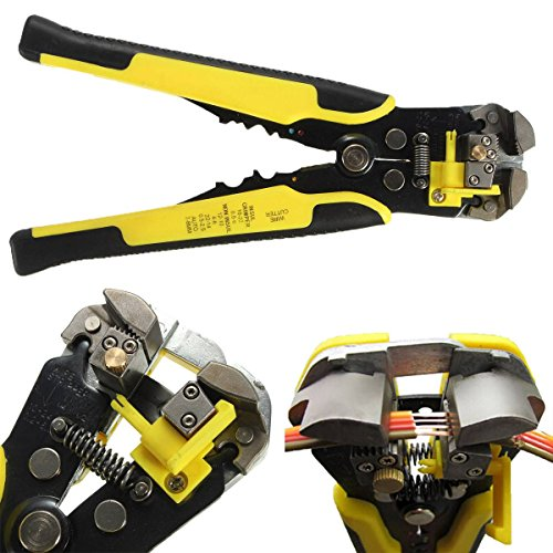 Wire Stripper Plier,Drillpro,Self-Adjusting Automatic Wire Stripper Professional Multifunctional Wire and Cable Crimping Stripping Cutting Pliers Terminal Tool Wire Crimper Stripper Cutter AWG24-10(0.2~6.0mm²) Yellow Test