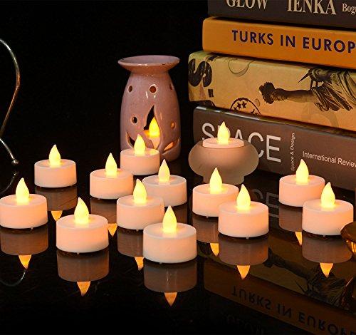 fourHeart LED Weihnachten Kerzen D36 x H36 MM (12er Set) Teelichter flammenlose Fest Licht Beleuchtung mit Flackereffekt batteriebetrieben, perfekt für Parties, Konzerte Hochzeit, Geburtstag und Festivals wie Halloween und Weihnachten entworfen - warm Gelb - 2