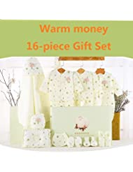 SHISHANG Caja de regalo del bebé Caja determinada 100% del bebé de la luna llena del algodón determinado determinado (sistema de 18 pedazos) (juego de 22 piezas) Muchacha del muchacho cuatro estaciones para el bebé 0-1-Year-old , D , 73cm