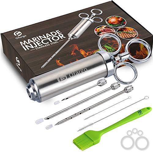 Ofargo Edelstahl Fleischspritze mit 3 Marinade Injektor Nadeln für BBQ Grill Smoker, 57 ml große Kapazität, inkl. Papierhandbuch, Rezept-E-Book (Download PDF)