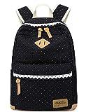 Mädchen Schulrucksack, Fashion Damen Canvas Rucksack Polka Punkt süße Spitze Kinderrucksack...