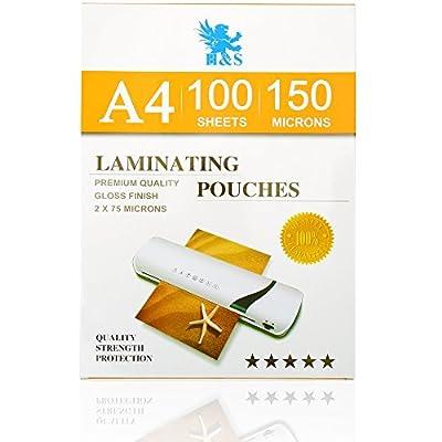 H&S 100 x A4 Laminating Pouches 150 Micron (2 x 75 Micron) Gloss Laminator Pouches Sheets Glossy Laminate Pouch