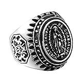 Bishilin Schmuck Titan Ring Herren Gothic Jungfrau Maria Partnerringe Männer Ring Silber Größe 67 (21.3)