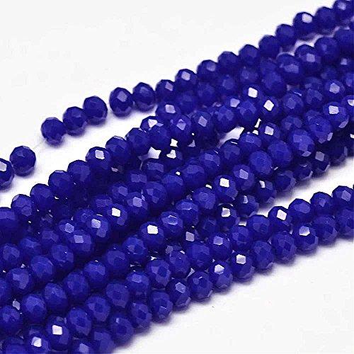 20 Jade Perlen 6 x 4 mm Cobalt Royal Blau Rondelle Facettiert Halbedelsteine Schmuckperlen für Kette Armband Ring Opak Farbe G202