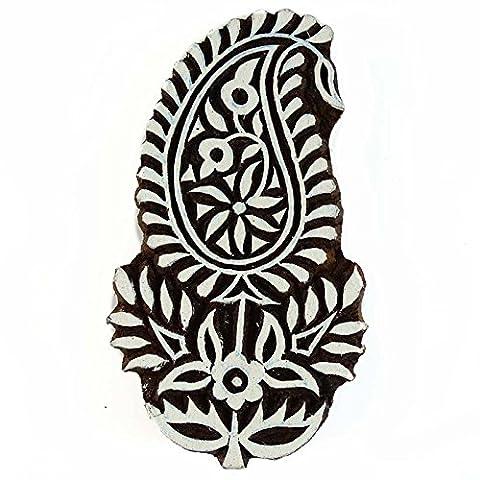 Wooden Stamp Floral Impression Paisley Scrapbook Main Carved Wood Block