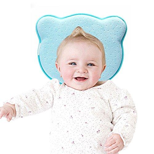 Örthopädisches Babykissen Kopfkissenbezüge Kleines Babykopfkissen gegen Verformung Plattkopf Flache Kopfform Blau für Babys Mädchen Junge von YOOFOSS
