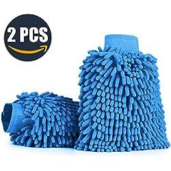 Aodoor (2 unidades) Chenille limpieza del coche Mitt cepillo Guante, Guante Microfibra de Limpieza Lavado para Coche Cocina Hogar (Azul)