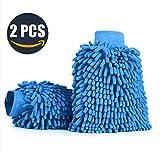 Auto handschuh, Aodoor (2er-Pack) Wasserdicht Mikrofaser Waschhandschuh, weicher Korallen Autowaschhandschuh zur Autowäsche Nudel Waschhandschuh Polierer Auto Motorrad 26 x 19 cm (Blau)