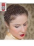 S&E Donna Cappello elegante del merletto Birdcage Veil Wedding clip di capelli nuziale con pettine bianco