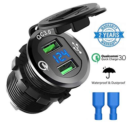 kdose 12V/24V USB Auto Ladegerät Dual QC3.0 Schnelle Ladung KFZ Ladegerät Wasserdichte Auto Zigarettenanzünder Adapter mit LED Digital Voltmeter für Motorrad, LKW und Mehr ()