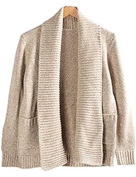 LINNUO Hombre Cárdigan Manga Larga Suéter Punto De Jerséy Jumper Blusa Chaqueta Abrigo Con Collar