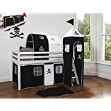 Cabin Bed Midsleeper with Pirate Tower, Tent & Tunnel & Bed Tidy (Solid White)