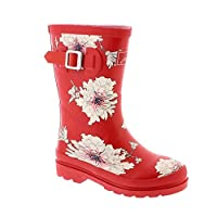 Joules Junior Printed Wellies - Red Peony